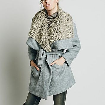 Free People Womens Cozy Belted Wrap Coat