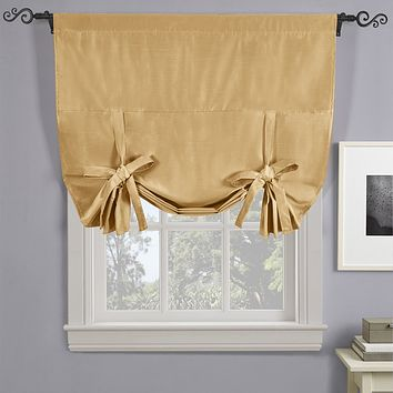 """GOLD Soho Triple-Pass Thermal Insulated Blackout Curtain Rod Pocket - Tie Up Shade for Small Window ( 42"""" W X 63"""" L)"""