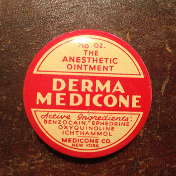 VINTAGE MEDICINE TIN - Derma Medicone - 1/10 oz Size - Anesthetic Ointment - Miniature Container - Wonderful Graphics - Rare Collectible