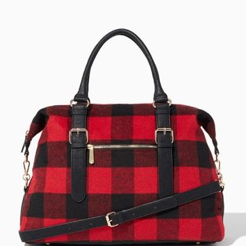 Winter Plaid Weekender Tote | Fashion Handbags - Slope Style | charming charlie