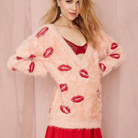 Pink Lip Patch Deep V-Neck Mohair Sweater