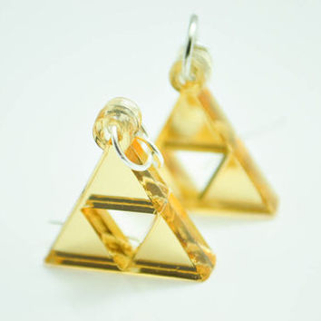 Zelda Golden Triforce Earrings or Necklace/Pendant Cosplay Jewelry