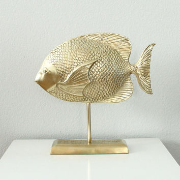 Mid Century Brass Fish on Stand - Shiny Brass Fish Figurine - Hollywood Regency - Freestanding Brass Statue