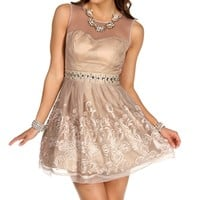 Sybil- Sand Short Prom Dress
