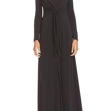 Alice + Olivia 'Salina' Plunging V-Neck Tie Waist Maxi Dress | Nordstrom