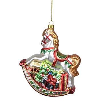 """4"""" Merry & Bright Red  White and Green Glitter Shatterproof Mitten Christmas Ornament"""