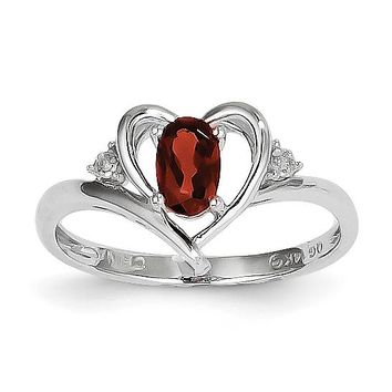 14k White Gold Genuine Garnet & Diamond Heart Ring