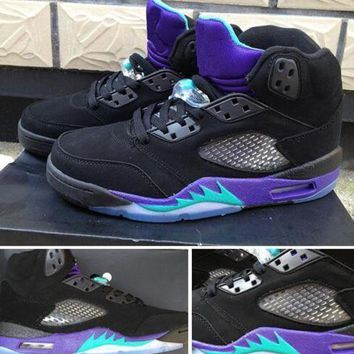 DCK7YE Air Jordan Retro 5 BLACK GRAPE 5s Retro GS Black New Emerald Grape Ice Basketball Shoe