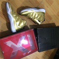 Beauty Ticks 2017 With Box All Metallic Gold Mens Basketball Shoes High Quality Air Jordan 11s Athl