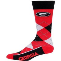 ONETOW NCAA Georgia Bulldogs For Bare Feet Argyle Crew Socks