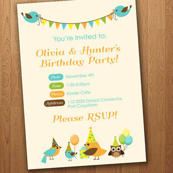 Bird Birthday Invite