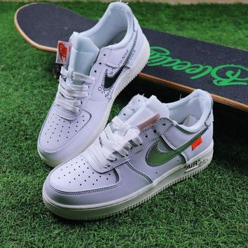 DCC3W OFF WHITE x Nike Air Force 1 Low White Silver Sport Shoes Sneaker Design By Virgil Abloh