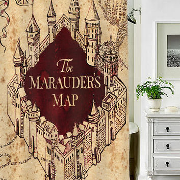 marauder's map special custom shower curtains that will make your bathroom adorable