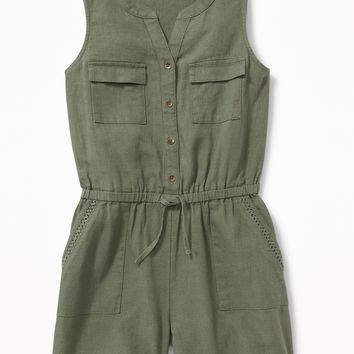 Utility Linen-Blend Romper for Girls | Old Navy