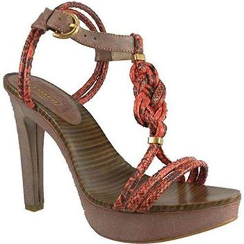 DCCKG2C Coach Simona Snake/Waxy Leather Sandal, Salmon/Tan 7.5M