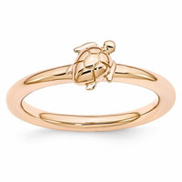 Sterling Silver Stackable Expressions Rose Gold Turtle Ring