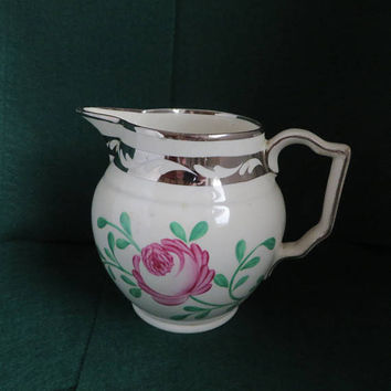 Gray's Pottery Silver Lustre Trimmed Pitcher, Vintage Pink Flower British Hand Painted Pottery