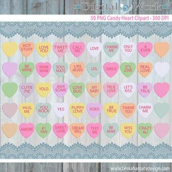 "Candy Hearts Clipart ""DIGITAL CANDY HEARTS"" Conversation Hearts Candy Clipart great fo"