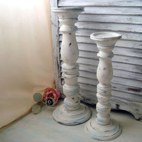 White Distressed Tall Candle Holders, Beach Cottage White and Blue Wooden Candle Stick Holders, Pair of Shabby Chic Tall Pillar Candlesticks