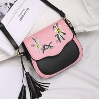 Brand Design Embroidery Women CrossBody Bag Purse shoulder tassel