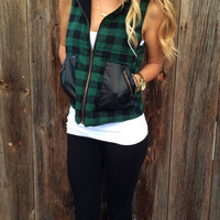 Hooded Plaid Vest