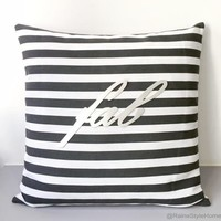 Fab Decorative Black And White Stripes Pillow Cover. Hand Cut Silver Fab 17inch Cushion Cover. Modern Housewarming Gift.Metallic Bridal Gift