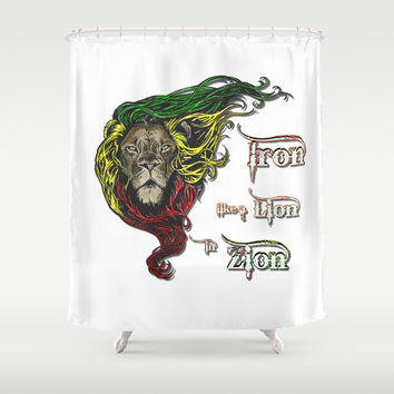 Reggae, Rasta, Rastafari Lion, Iron, like a Lion in Zion. Jamaican music, well known song quote Shower Curtain by Peter Reiss