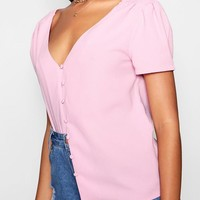 Kaylee Puff Shoulder Button Detail Blouse | Boohoo