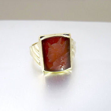 Mens Gold Intaglio Ring. Art Deco Carnelian Intaglio Cameo Signet Ring. 10K Yellow Gold Roman Warrior