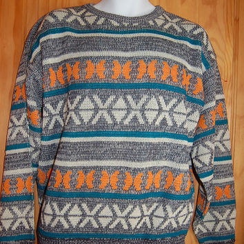 Vintage 70s 80s McGregor Bold Tribal Graphic Geometric Cosby Sweater Mens Size Medium