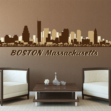 Boston Massachusetts Skyline Cityscape Vinyl Wall Art Decal Graphics Bedroom Office Living Room Studio Home Decor