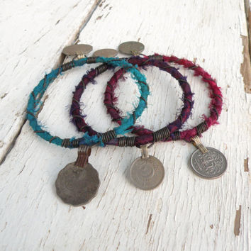 Silk Road Gypsy Bangle Stack, 3 Bohemian Tribal Bracelets, Silk Wrapped, Turquoise, Purple, Magenta