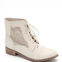 Black Poppy Perforated Lace Up Boots - Womens Boots - White - 6