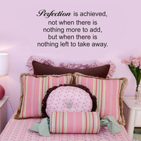 Perfection Is Achieved wall quote vinyl wall art decal sticker 15x28