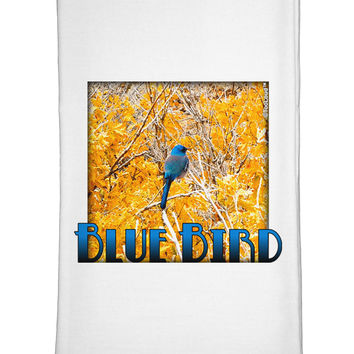 Blue Bird In Yellow Text Flour Sack Dish Towels