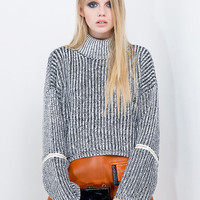 Gray High Neck Zipper Sleeve Textured Knit Jumper
