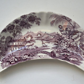 Purple Transerware Crescent Shaped Bone Dish Tonquin Royal Staffordshire - Caviar Taco Dish at Rose.Rabbit.Lie