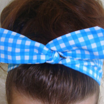 Dolly Bow, Blue Checkered Gingham Wire Headband