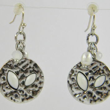 Pearl WHITE & SILVER Hammered Chandelier Pendant  and  Beaded Hook Dangle Earrings