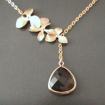 Gold Orchid Flower With Smoky Quartz Lariat Necklace, Triple Flower Charm, Glass Framed, Bestfriends Gift, Everyday by Crystalhadow on etsy