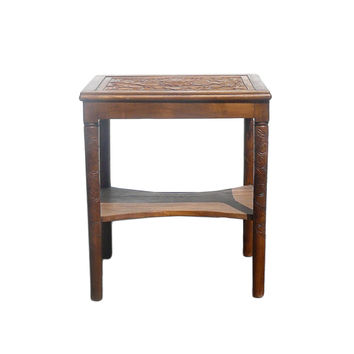 Lotus Relief Carving Wood Side Table Stand