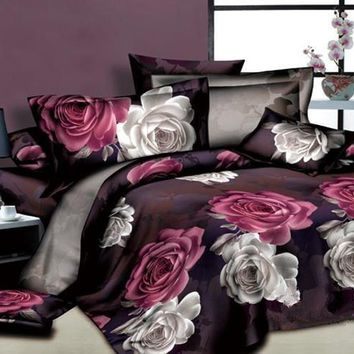 3D White and Red Flowers Printed Cotton Luxury 4-Piece Bedding Sets/Duvet Cover