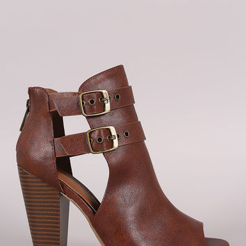 Bamboo Open Side Double Buckled Chunky Heeled Ankle Boots