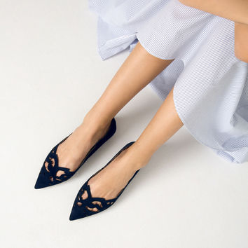 LASER - CUT LEATHER BALLET FLATS-View all-SHOES-WOMAN | ZARA United Kingdom