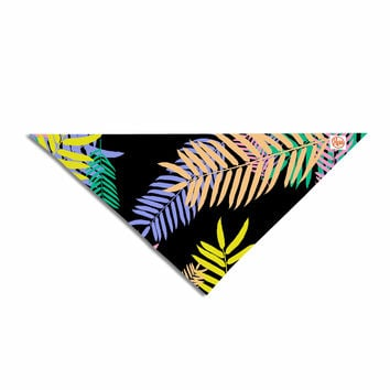 "Vasare Nar ""Tropical Palm 90s"" Black Multicolor Art Deco Floral Pet Bandana"