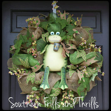 Spring Wreath, Spring Deco Mesh Wreath, Frog Wreath, Frog Decor, Frog Door Hanger, Deco Mesh Wreath, Door Hanger