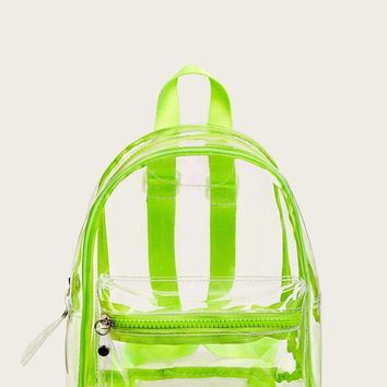 Neon Lime Clear Backpack