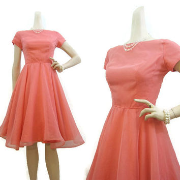 Vintage 50s Dress Pink Chiffon Party Prom Dance Circle Skirt S