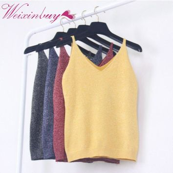 2017 Sexy Women Fashion Summer Icecream Camisole Bruiser Crop Top Glittering Knitting Vest Top V-Neck Blouse Casual Tank Tops