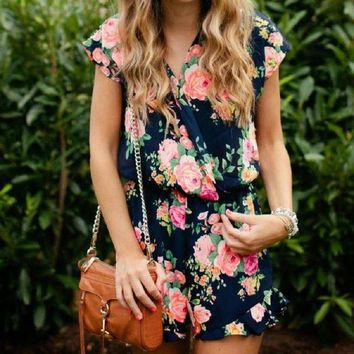 ONETOW Women Playsuits Summer Sexy Deep V-Neck Floral Printed Short Sleeve Female Jumpsuit Loose Casual Fashion Leisure Romper Harajuku